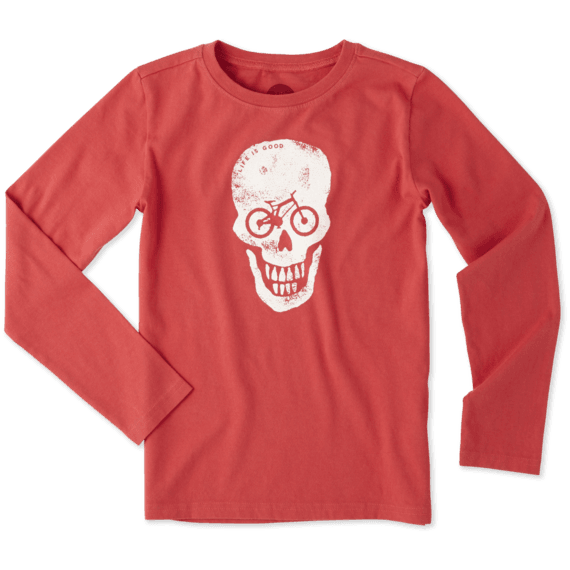 Boys Bike Skull Long Sleeve Crusher Tee
