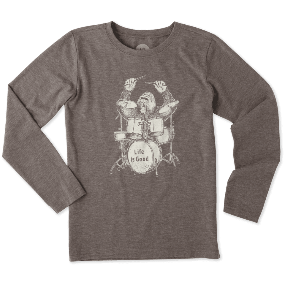 Boys Drumming Gorilla Long Sleeve Cool Tee