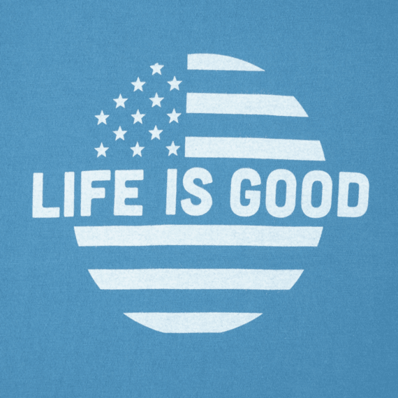Boys Life is Good Dot Flag Long Sleeve Crusher Tee