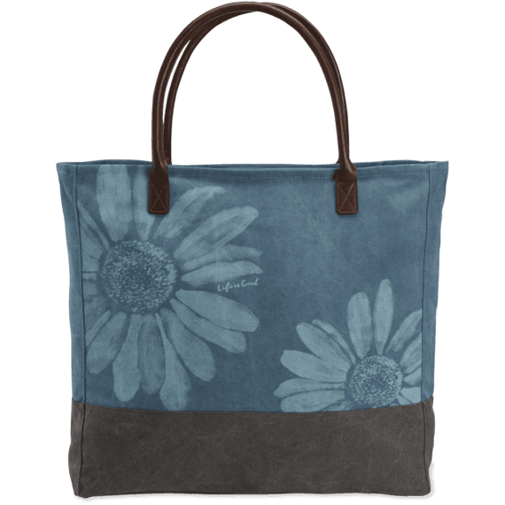 Daisies All-In Tote, Sea Blue