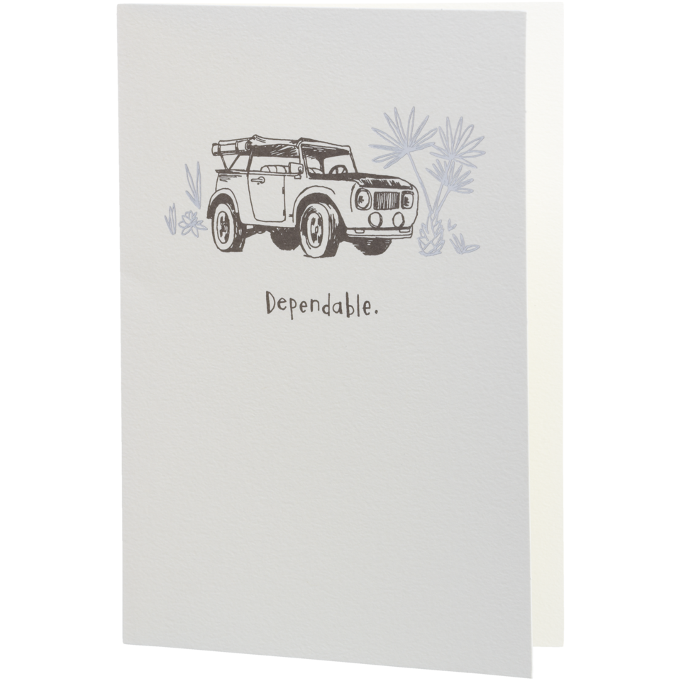Life is good Dependable Jeep Hallmark Card