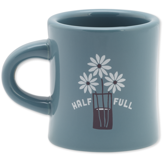 Half Full Daisy Jar Diner Mug