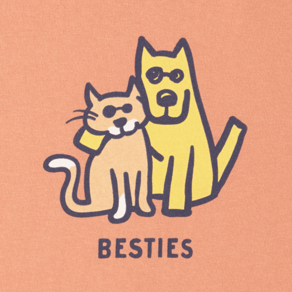 Girls Besties Cat & Dog Long Sleeve Crusher Tee