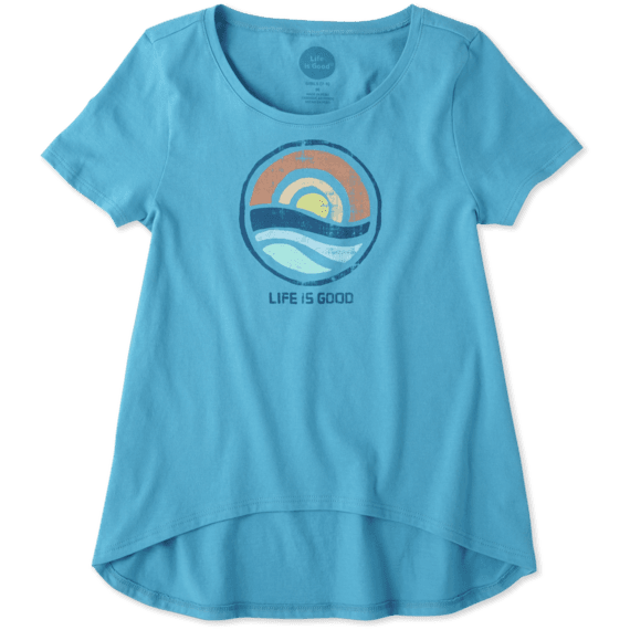 Girls Color Block Sunrise Scoop Neck Swing Tee