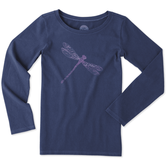 Girls Dragonfly Pattern Long Sleeve Crusher Tee