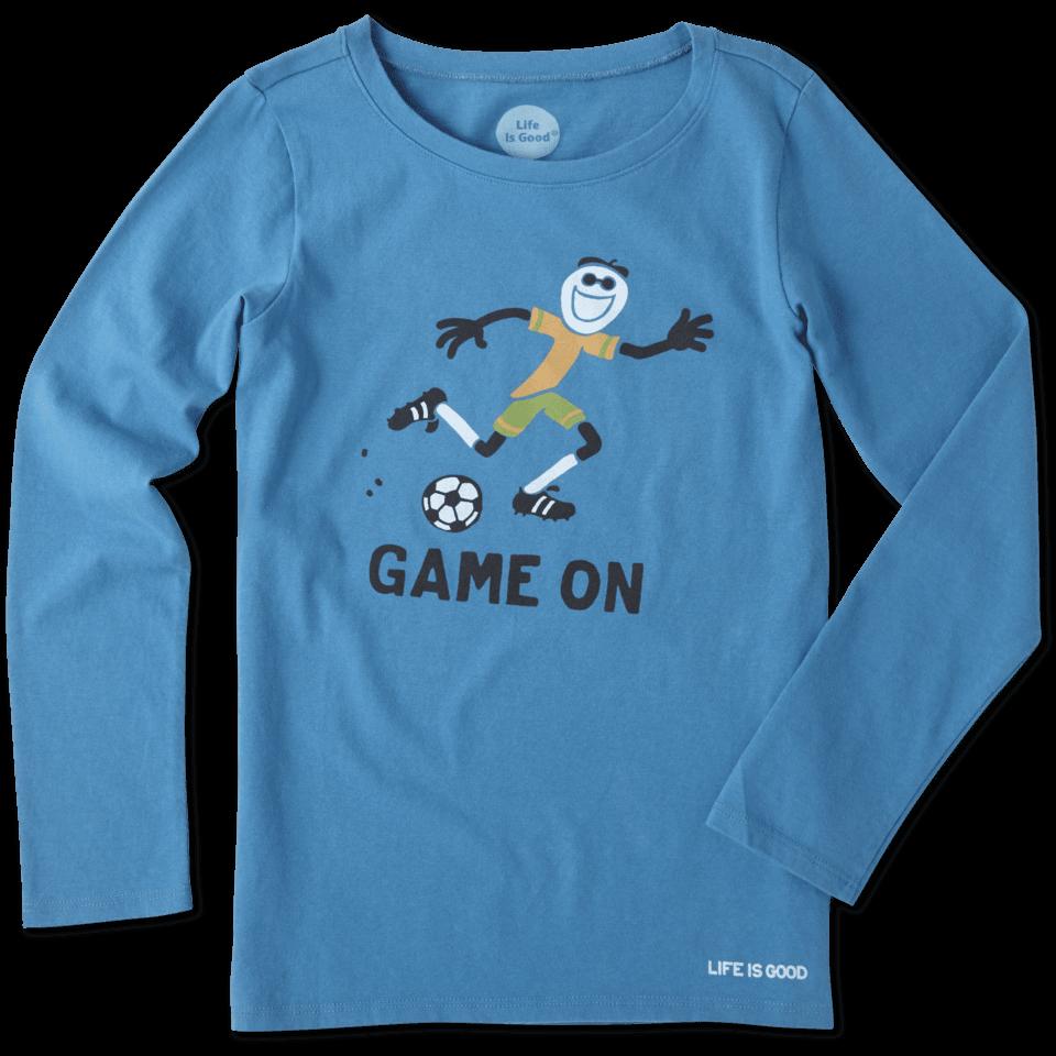 Girls Elemental Game On Soccer Long Sleeve Crusher Tee 46962-L