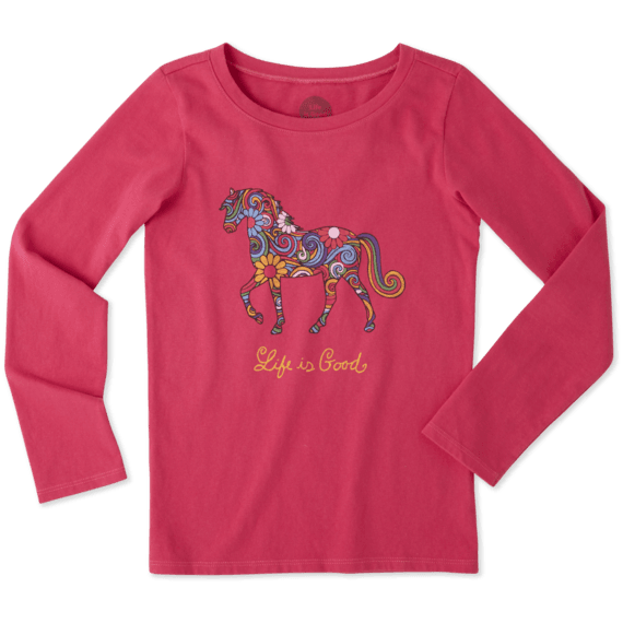 Girls Flower Swirl Horse Long Sleeve Crusher Tee