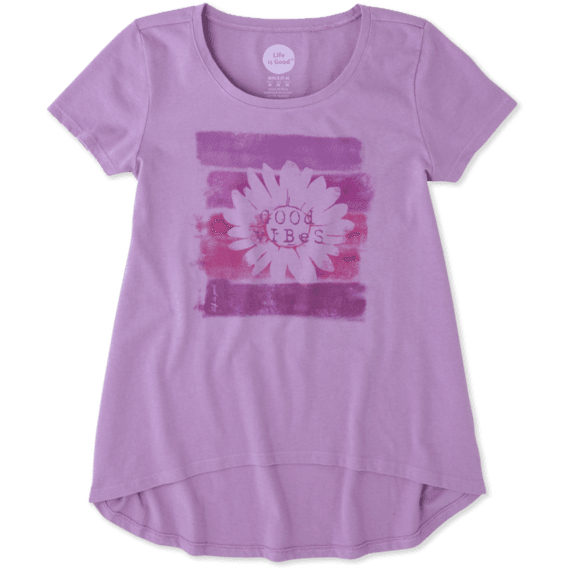 Girls Good Vibes Scoop Neck Swing Tee
