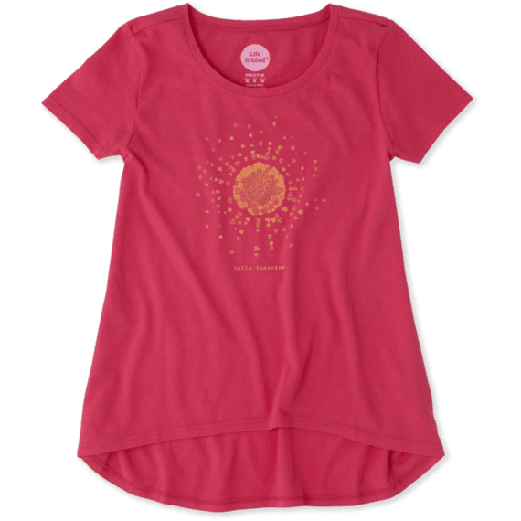Girls Hello Sun Scoop Neck Swing Tee