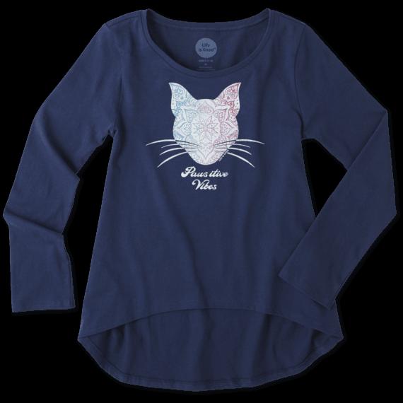 Girls Pawsitive Vibes Cat Long Sleeve Scoop Neck Swing Tee