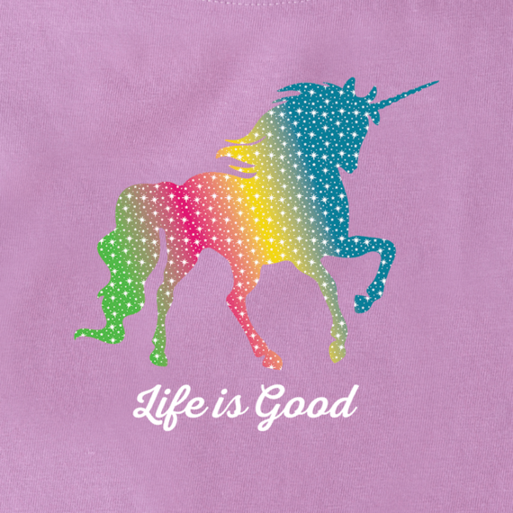 Girls Rainbow Unicorn Crusher Tee