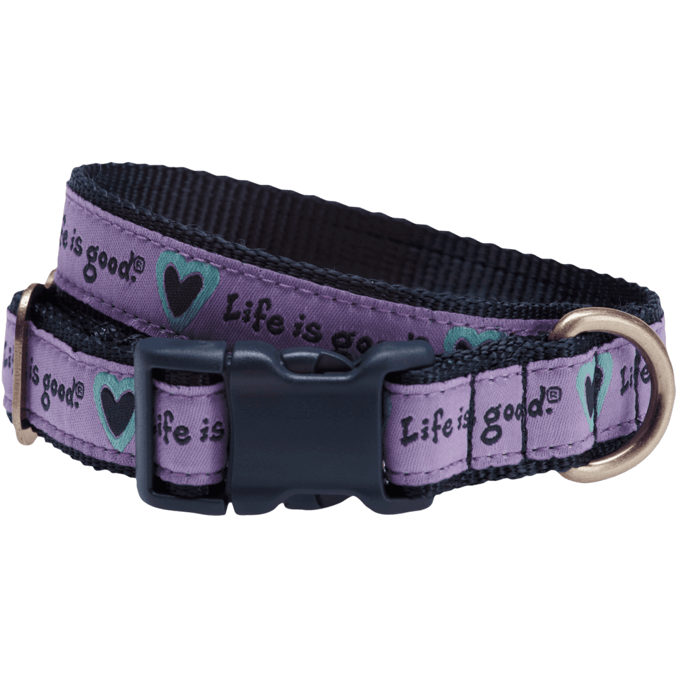 Lifeisgood Heart Dog Collar, Purple, M