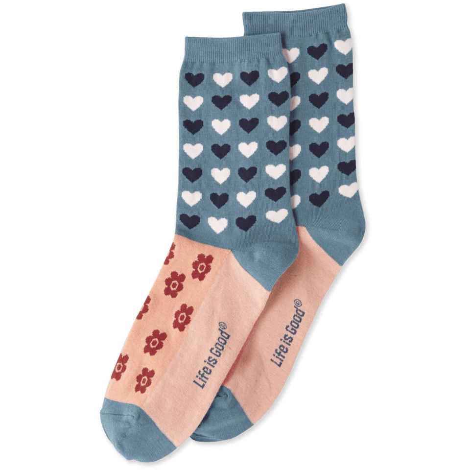 Heart Flower Repeat Womens Crew Socks