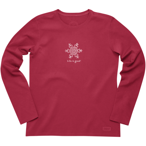 Women's Heart Snowflake Long Sleeve Crusher Tee