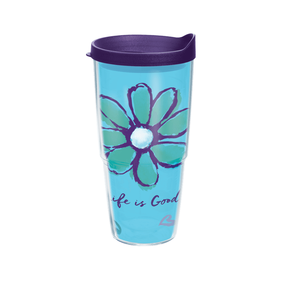 Life is Good Daisy Tervis Tumbler with Purple Lid, 24 oz. TRV1240538-OS