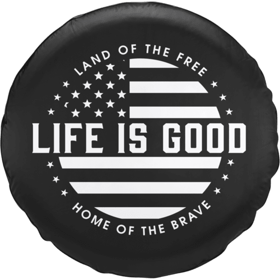 Life is Good Flag Circle Tire Cover