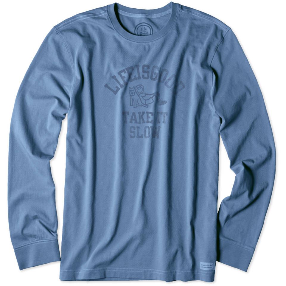 Lifeisgood Men's Take It Slow Long Sleeve Crusher Tee, Extra Blue, M