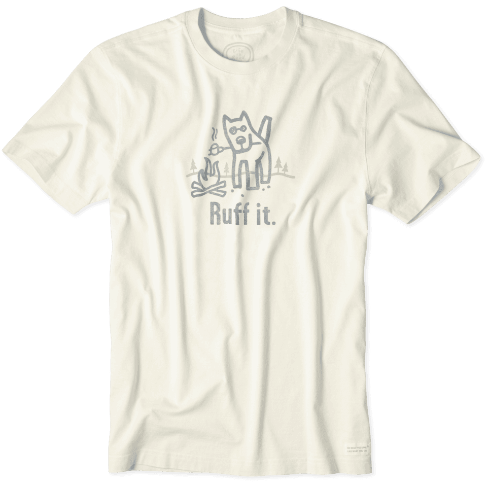 Lifeisgood Men's Ruff It Rocket Crusher Tee, Simply Ivory, M