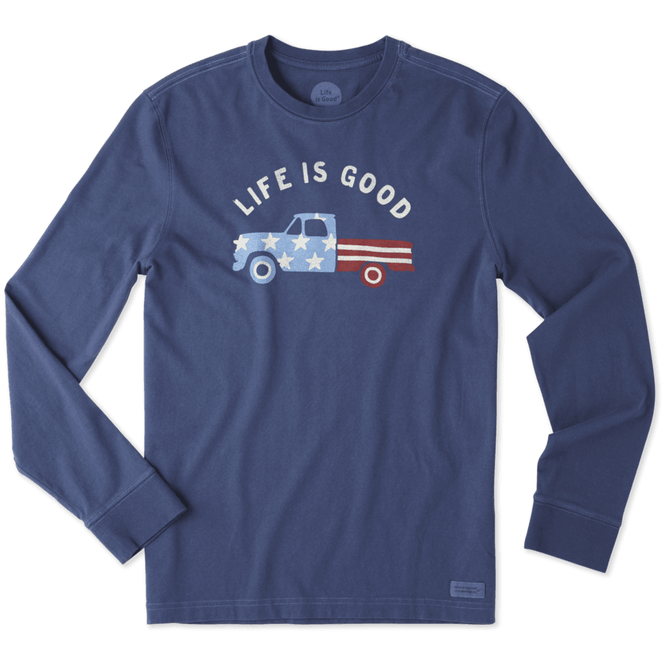 Mens Flag Truck Long Sleeve Crusher Tee
