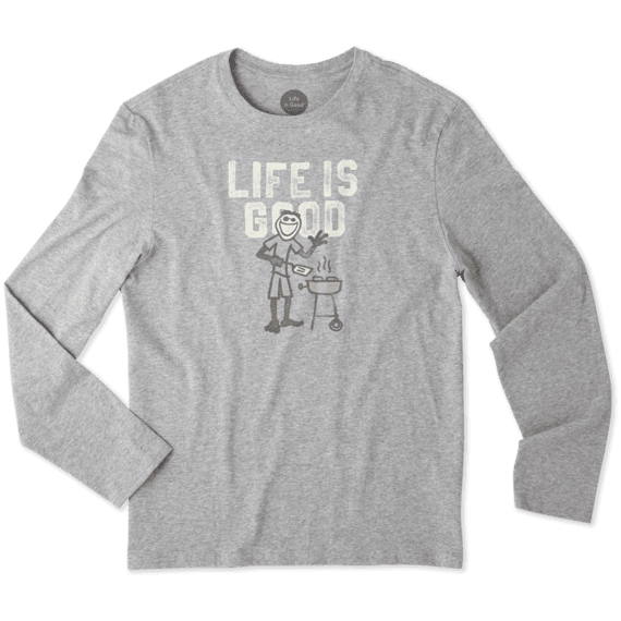 Men's Grill Life Is Good Long Sleeve Smooth Tee