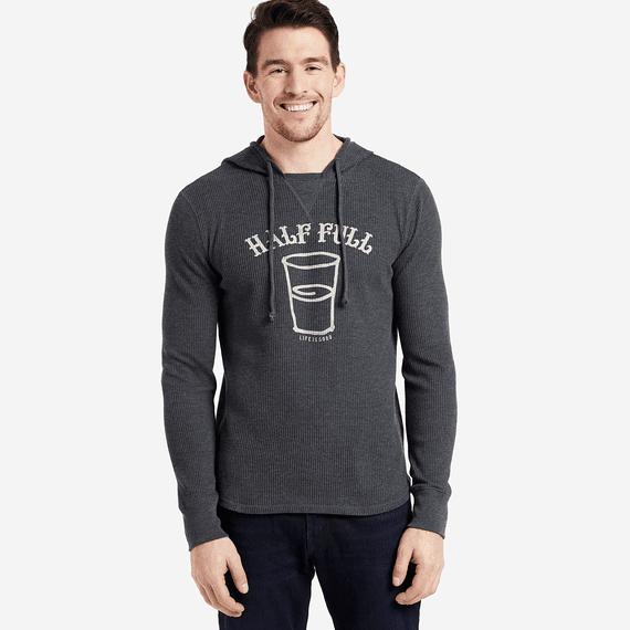 Men's Half Full Arc Hooded Waffle Pullover