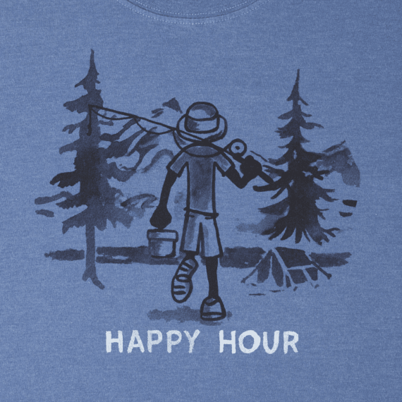 Men's Happy Hour Fish Long Sleeve Crusher Tee