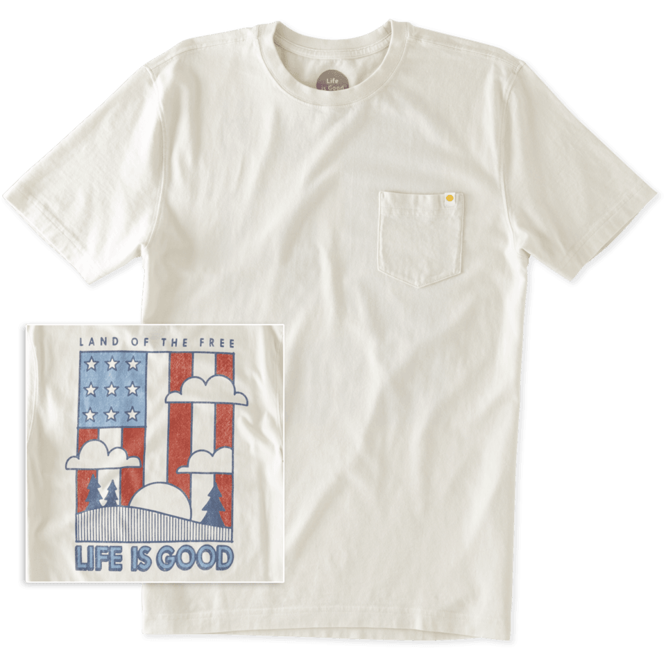 Mens Land Of The Free Pocket Crusher Tee