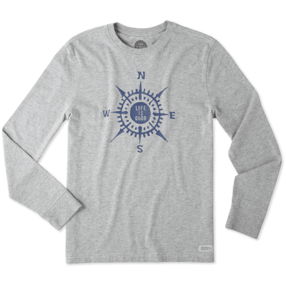Men's Life Is Good Compass Painted Long Sleeve Crusher Tee