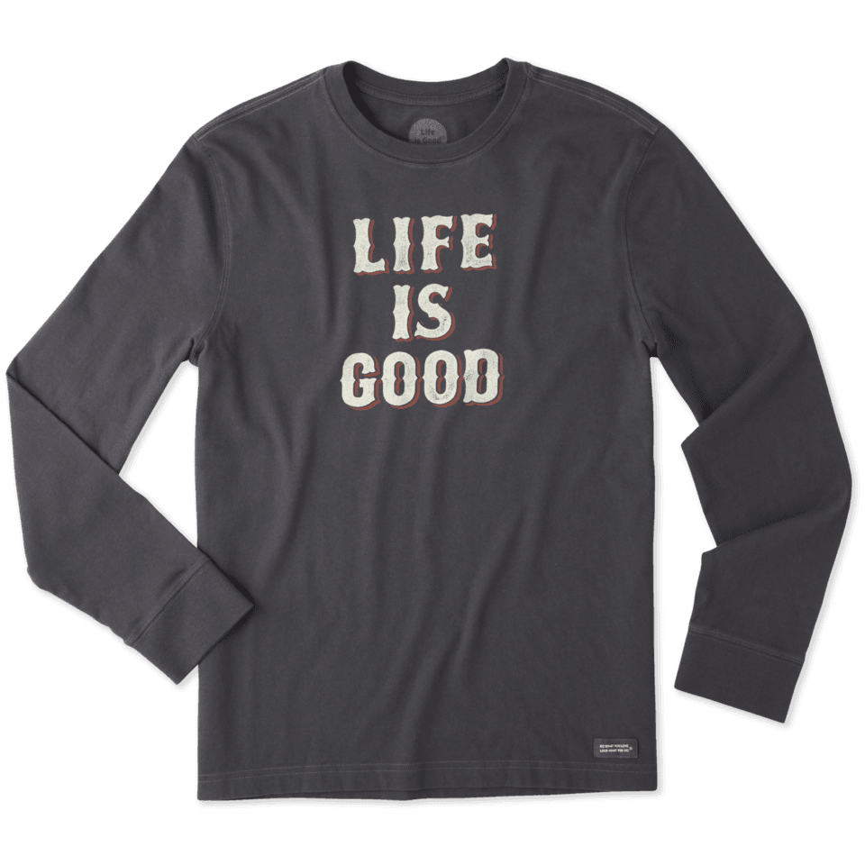 Mens Life Is Good Stack Long Sleeve Crusher Tee