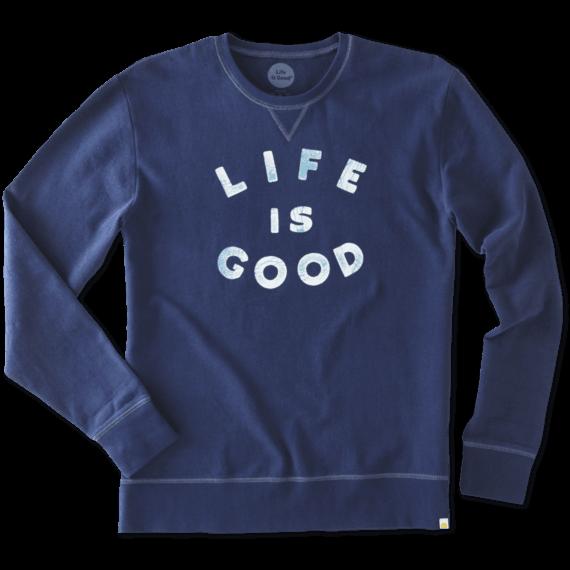 Men's Life is Good Script Go-To Crew