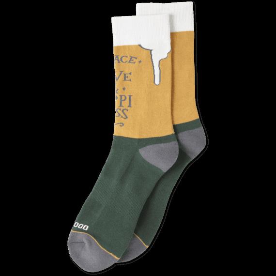 Men's Peace, Love & Hoppiness Good Foot Crew Sock