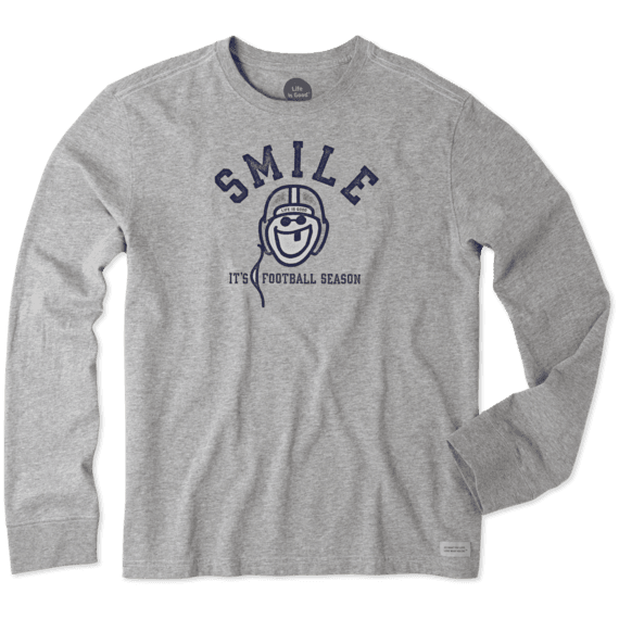 Men's Smile Football Long Sleeve Crusher Tee
