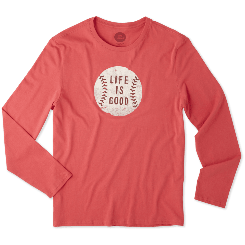 Mens Vintage Baseball Life Is Good Long Sleeve Smooth Tee