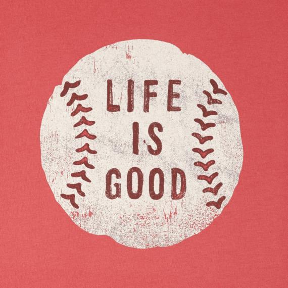 Men's Vintage Baseball Life Is Good Long Sleeve Smooth Tee