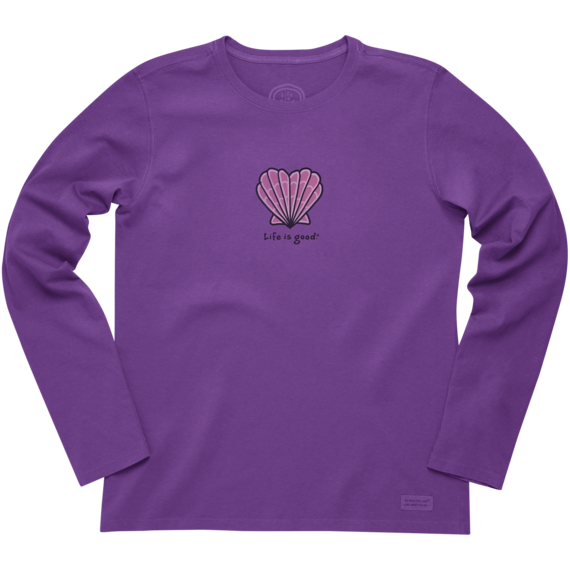 Women's Seashell Heart Long Sleeve Crusher Tee