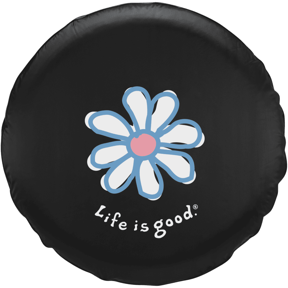 Life is good Tire Cover Daisy, Black