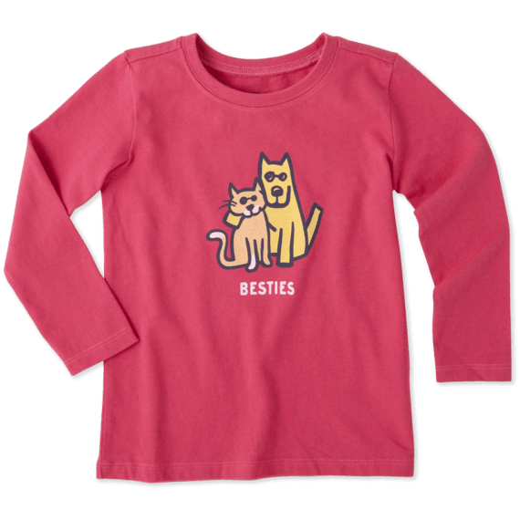 Toddlers Besties Cat And Dog Long Sleeve Crusher Tee