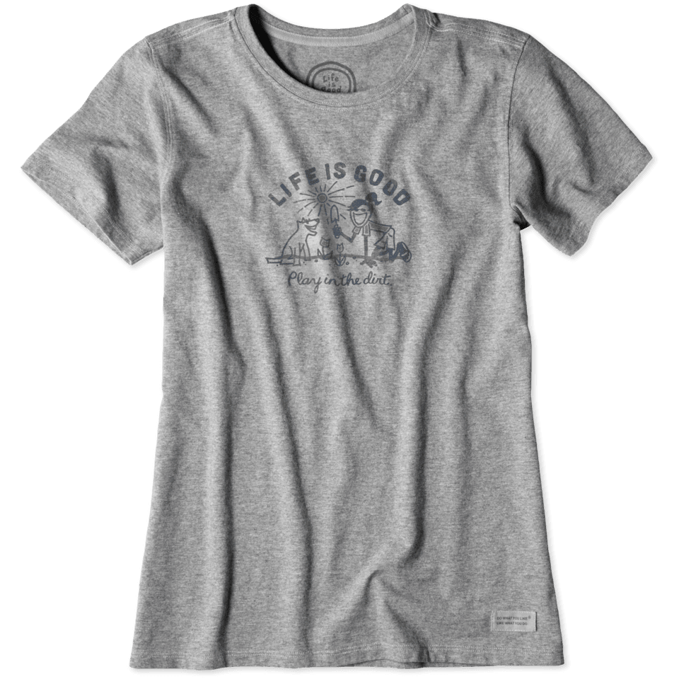 Lifeisgood Women's Play In The Dirt Garden Crusher Tee, Heather Gray, L