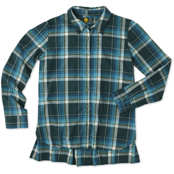 Women 39 s balsam green home grown plaid shirt life is good for Womens green checked shirt