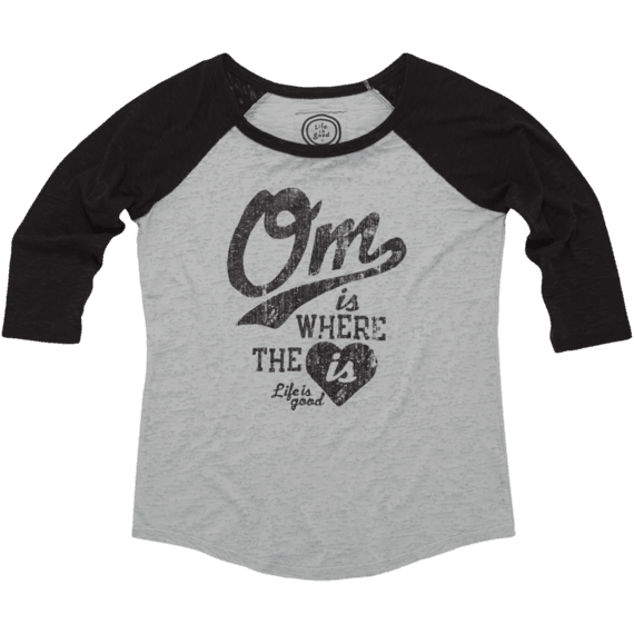 Women's Om Is Where The Heart Is Baseball Burnout Tee