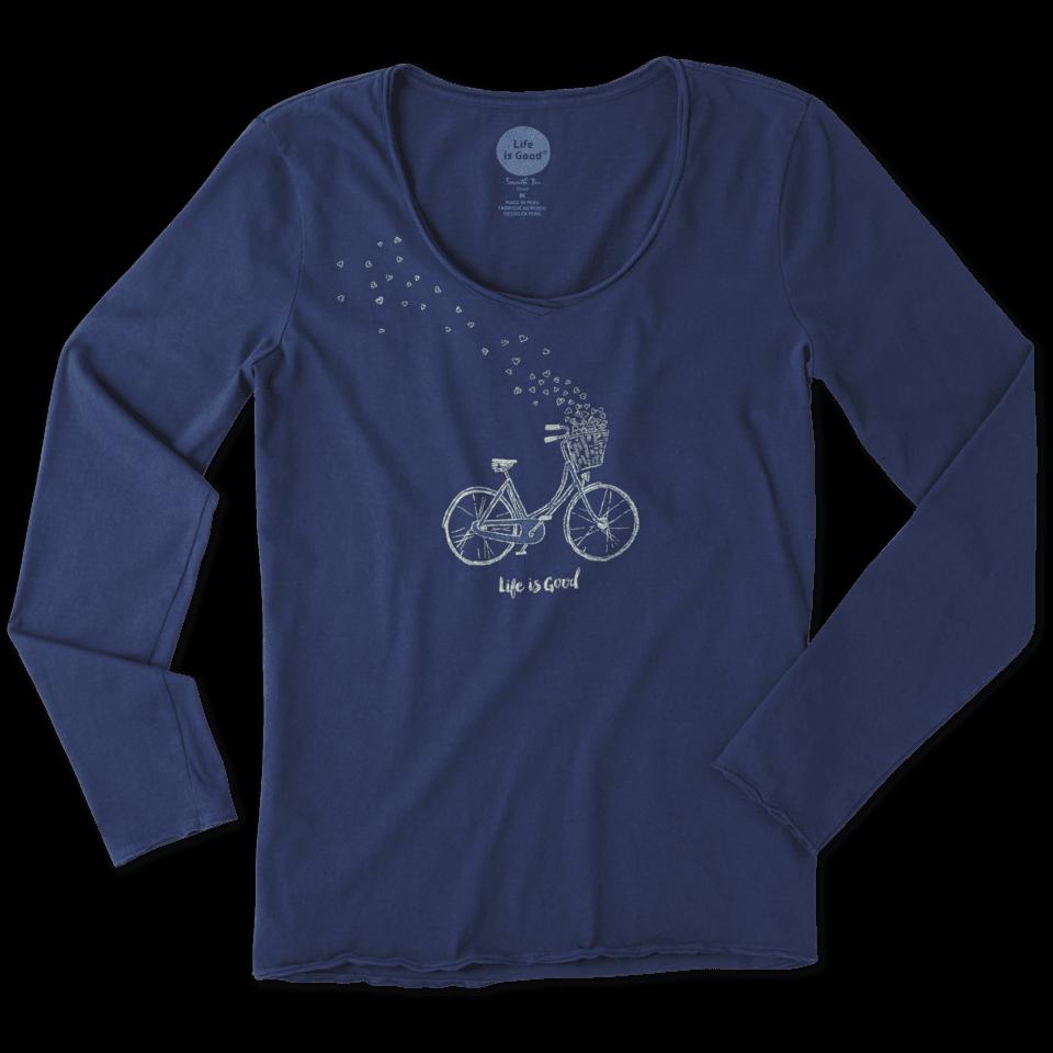 Womens Bike Heart Basket Long Sleeve Smooth Tee