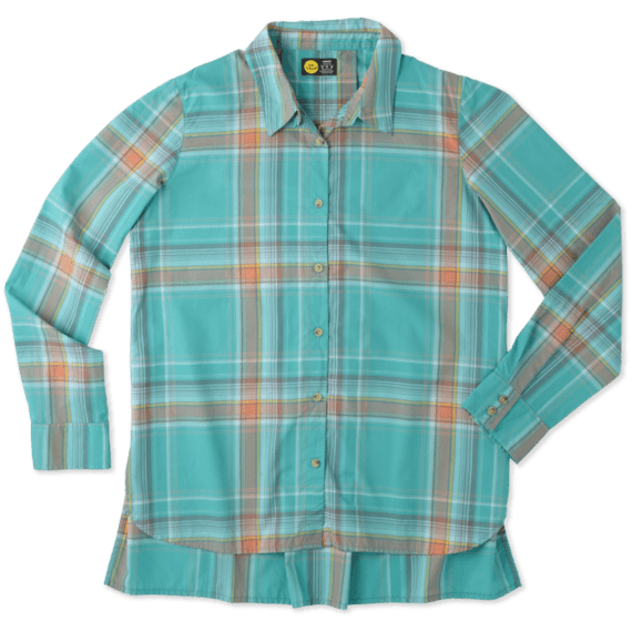 Women's Bright Teal Down Home Plaid Shirt