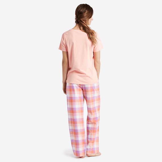 Women's Coral Plaid Classic Sleep Pants