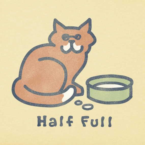 Women's Half Full Cat Crusher Tee