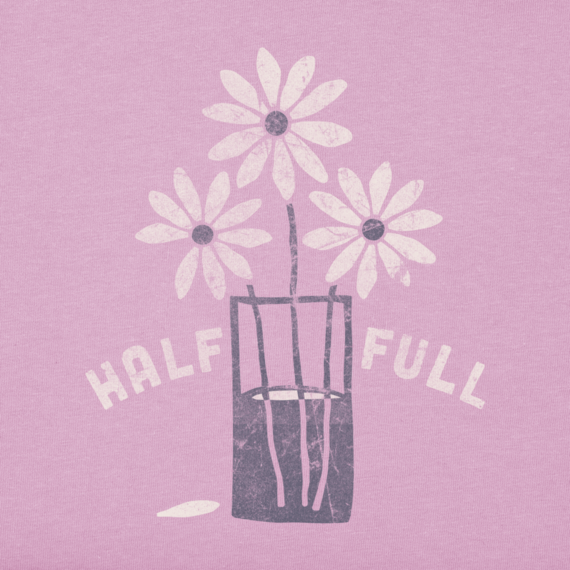 Women's Half Full Daisy Long Sleeve Crusher Tee