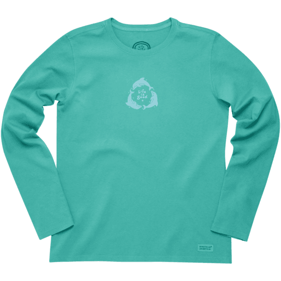 Women's Dolphin Circle Long Sleeve Crusher Tee