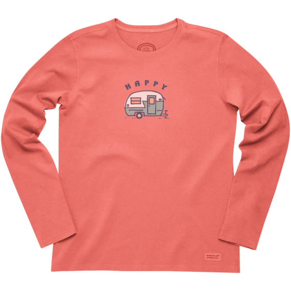 Women's Happy Camper Long Sleeve Crusher Tee