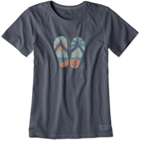 Women's Palm Tree Flip Flops Crusher Tee