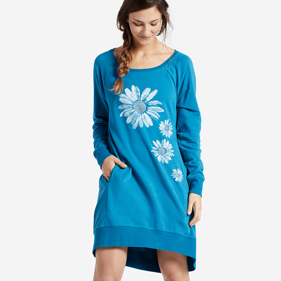 Womens Daisies Sweatshirt Dress