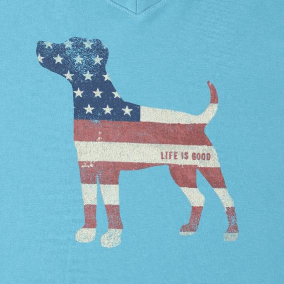 Women's Dog Flag Long Sleeve Crusher Vee